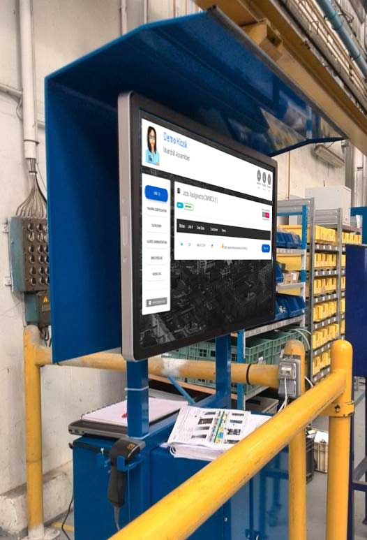 Screenshot of MOLI Electronic Work Instructions on an ELO 4201L Touchscreen